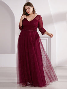 COLOR=Burgundy | Women'S V-Neck 3/4 Sleeve Lace Wedding Dress-Burgundy 13