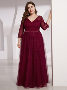 COLOR=Burgundy | Women'S V-Neck 3/4 Sleeve Lace Wedding Dress-Burgundy 14