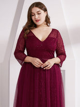 Load image into Gallery viewer, COLOR=Burgundy | Women'S V-Neck 3/4 Sleeve Plus Size Lace Wedding Dress-Burgundy 5