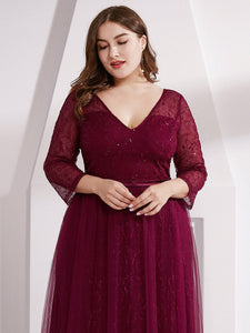 COLOR=Burgundy | Women'S V-Neck 3/4 Sleeve Lace Wedding Dress-Burgundy 15