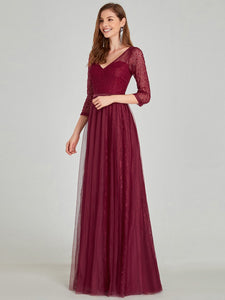 COLOR=Burgundy | Women'S V-Neck 3/4 Sleeve Lace Wedding Dress-Burgundy 8