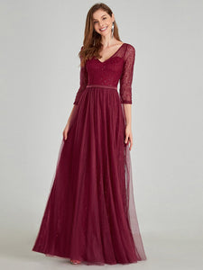 COLOR=Burgundy | Women'S V-Neck 3/4 Sleeve Lace Wedding Dress-Burgundy 9