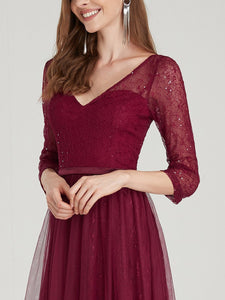 COLOR=Burgundy | Women'S V-Neck 3/4 Sleeve Lace Wedding Dress-Burgundy 10