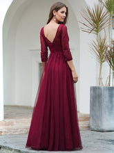 Load image into Gallery viewer, COLOR=Burgundy | Women'S V-Neck 3/4 Sleeve Lace Wedding Dress-Burgundy 2