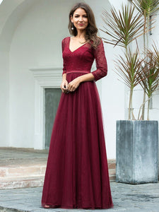 COLOR=Burgundy | Women'S V-Neck 3/4 Sleeve Lace Wedding Dress-Burgundy 3