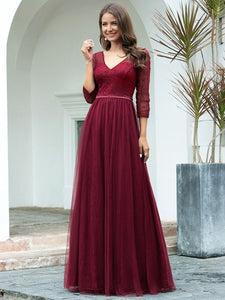 COLOR=Burgundy | Women'S V-Neck 3/4 Sleeve Lace Wedding Dress-Burgundy 4