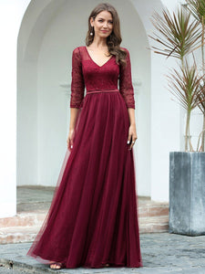 COLOR=Burgundy | Women'S V-Neck 3/4 Sleeve Lace Wedding Dress-Burgundy 1