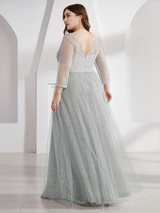 COLOR=Grey | Women'S V-Neck 3/4 Sleeve Plus Size Lace Wedding Dress-Grey 2