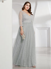 Load image into Gallery viewer, COLOR=Grey | Women'S V-Neck 3/4 Sleeve Lace Wedding Dress-Grey 8