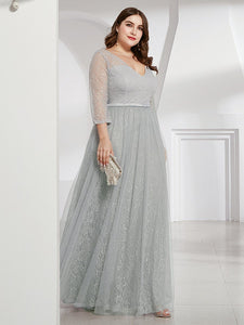 COLOR=Grey | Women'S V-Neck 3/4 Sleeve Plus Size Lace Wedding Dress-Grey 3