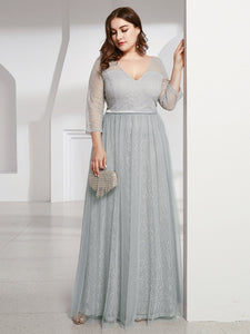 COLOR=Grey | Women'S V-Neck 3/4 Sleeve Plus Size Lace Wedding Dress-Grey 4
