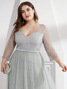 COLOR=Grey | Women'S V-Neck 3/4 Sleeve Plus Size Lace Wedding Dress-Grey 5