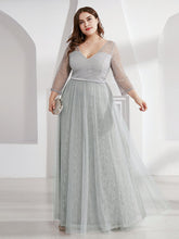 Load image into Gallery viewer, COLOR=Grey | Women'S V-Neck 3/4 Sleeve Lace Wedding Dress-Grey 6