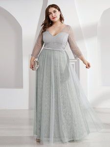 COLOR=Grey | Women'S V-Neck 3/4 Sleeve Plus Size Lace Wedding Dress-Grey 1
