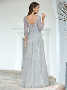 COLOR=Grey | Women'S V-Neck 3/4 Sleeve Lace Wedding Dress-Grey 2