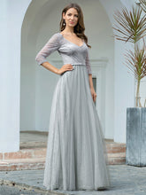 Load image into Gallery viewer, COLOR=Grey | Women'S V-Neck 3/4 Sleeve Lace Wedding Dress-Grey 3