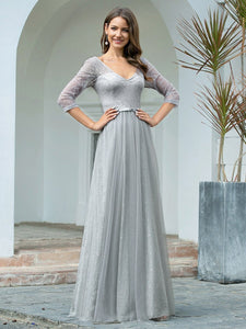 COLOR=Grey | Women'S V-Neck 3/4 Sleeve Lace Wedding Dress-Grey 4