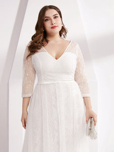 COLOR=White | Women'S V-Neck 3/4 Sleeve Lace Wedding Dress-White 10