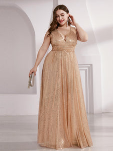 Double V Neck Maxi Long Plus Size Sequin Wholesale Prom Dress EP00825