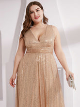 Load image into Gallery viewer, Double V Neck Maxi Long Plus Size Sequin Wholesale Prom Dress EP00825