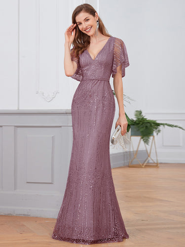 Color=Purple Orchid | Deep V Neck Shiny Fishtail Evening Dress With Flutter Sleeves-Purple Orchid 1