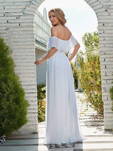 Color=White | Plain Off Shoulder Chiffon Wedding Dress With Side Split-White 2