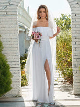 Load image into Gallery viewer, Color=White | Plain Off Shoulder Chiffon Wedding Dress With Side Split-White 3