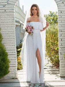 Color=White | Plain Off Shoulder Chiffon Wedding Dress With Side Split-White 3