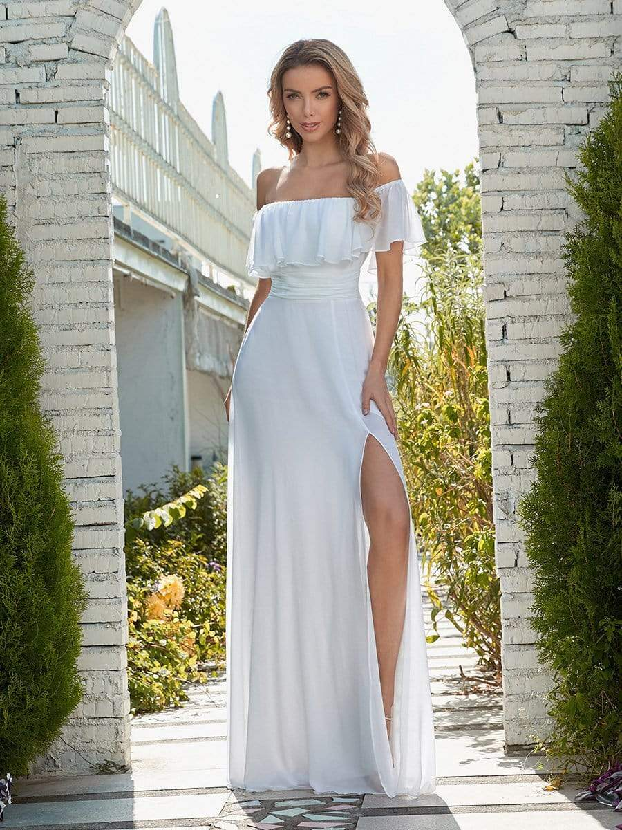 Color=White | Plain Off Shoulder Chiffon Wedding Dress With Side Split-White 4