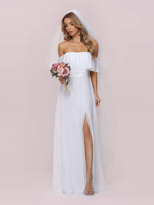 Color=White | Plain Off Shoulder Chiffon Wedding Dress With Side Split-White 5