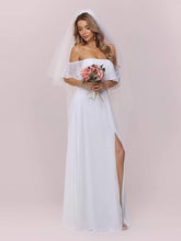 Load image into Gallery viewer, Color=White | Plain Off Shoulder Chiffon Wedding Dress With Side Split-White 7