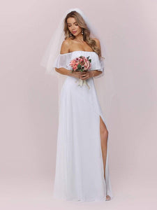 Color=White | Plain Off Shoulder Chiffon Wedding Dress With Side Split-White 7