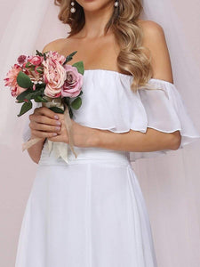Color=White | Plain Off Shoulder Chiffon Wedding Dress With Side Split-White 8