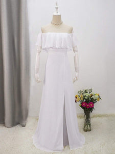 Color=White | Plain Off Shoulder Chiffon Wedding Dress With Side Split-White 9