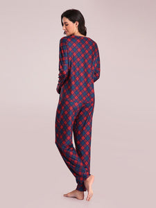 Color=Brick Red | Women's Cute Long Sleeve Printed Loungewear with Shorts-Brick Red 3