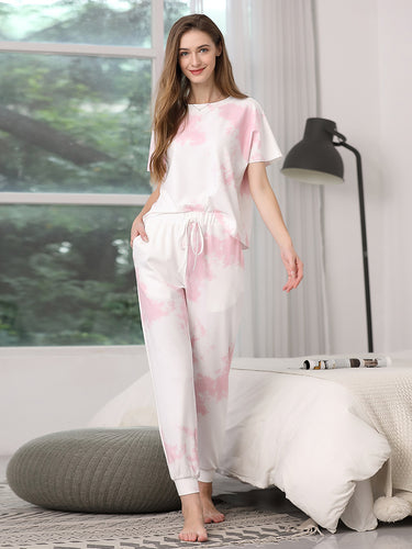 Color=Pink | Women'S Casual Tie-Dye Track Suit For Women-Pink 1