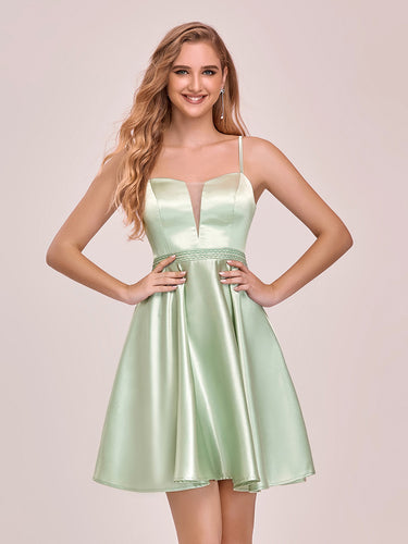 Color=Mint Green | Sweet Wholesale Satin Cocktail Dress For Women With Spahetti Straps-Mint Green 1