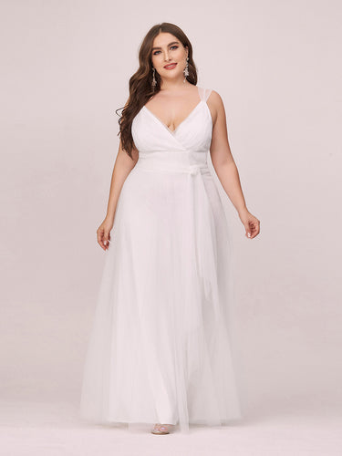 COLOR=Cream | Maxi Long Double V Neck Plus Size Tulle Bridesmaid Dresses-Cream 1