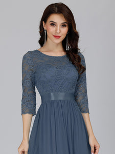 COLOR=Dusty Navy | See-Through Floor Length Lace Evening Dress With Half Sleeve-Dusty Navy 3