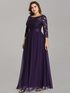 COLOR=Dark Purple | See-Through Floor Length Lace Evening Dress With Half Sleeve-Dark Purple 5