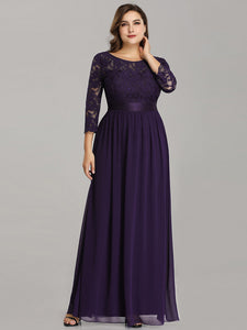 COLOR=Dark Purple | See-Through Floor Length Lace Evening Dress With Half Sleeve-Dark Purple 4