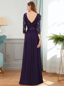 COLOR=Dark Purple | See-Through Floor Length Lace Evening Dress With Half Sleeve-Dark Purple 2