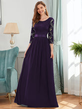 Load image into Gallery viewer, COLOR=Dark Purple | See-Through Floor Length Lace Evening Dress With Half Sleeve-Dark Purple 1