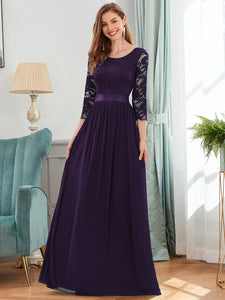 COLOR=Dark Purple | See-Through Floor Length Lace Evening Dress With Half Sleeve-Dark Purple 1
