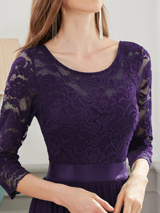 COLOR=Dark Purple | See-Through Floor Length Lace Evening Dress With Half Sleeve-Dark Purple 3