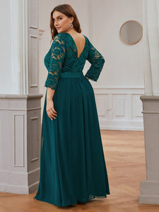 COLOR=Teal | See-Through Floor Length Lace Evening Dress With Half Sleeve-Teal 2