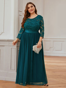 COLOR=Teal | See-Through Floor Length Lace Evening Dress With Half Sleeve-Teal 3