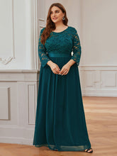 Load image into Gallery viewer, COLOR=Teal | See-Through Floor Length Lace Evening Dress With Half Sleeve-Teal 5