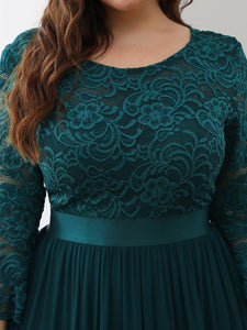COLOR=Teal | See-Through Floor Length Lace Evening Dress With Half Sleeve-Teal 5