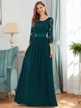 Load image into Gallery viewer, COLOR=Teal | See-Through Floor Length Lace Evening Dress With Half Sleeve-Teal 3